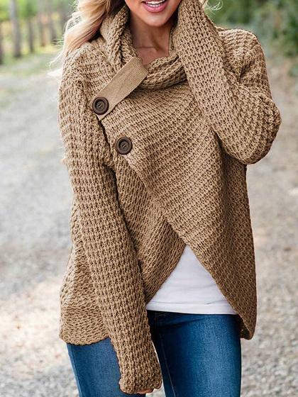 Khaki High Neck Asymmetric Hem Long Sleeve Women Sweater