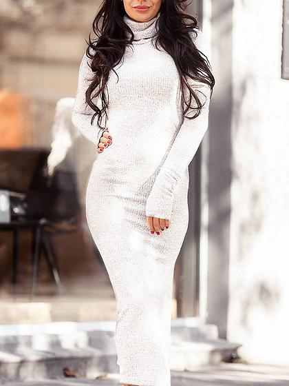White High Neck Long Sleeve Women Knit Bodycon Midi Dress