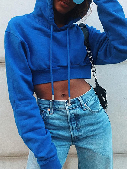Royal Blue Cotton Blend Long Sleeve Women Crop Hoodie