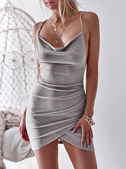 Silver Cross Strap Back Women Bodycon Cami Mini Dress