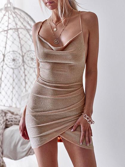 Khaki Cross Strap Back Women Bodycon Cami Mini Dress