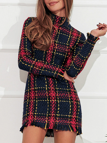 Red Plaid High Neck Tassel Trim Long Sleeve Women Mini Dress