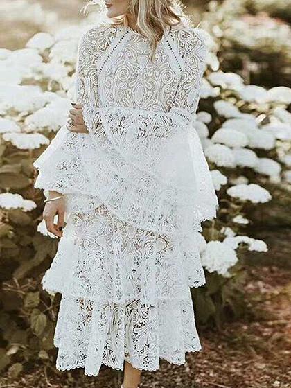 White Layered Ruffle Hem Flare Sleeve Women Lace Maxi Dress