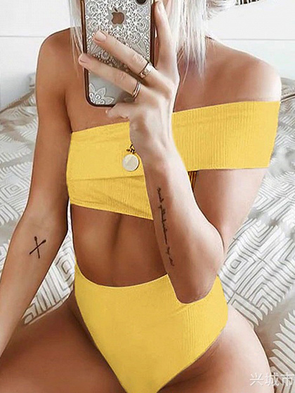 Yellow One Shoulder Women Bikini Top And High Waist Bottom