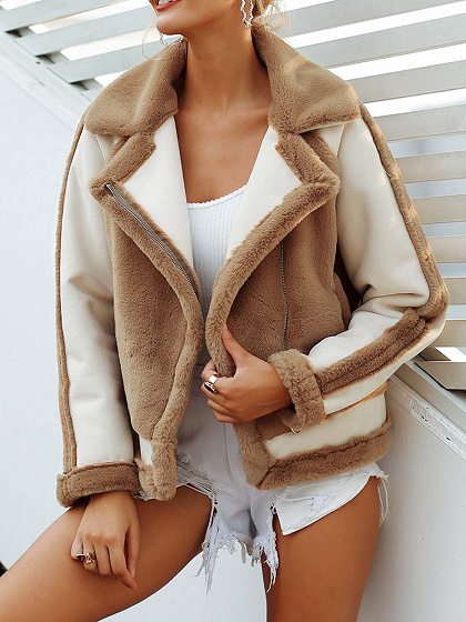 Khaki Lapel Pocket Detail Long Sleeve Women Faux Fur Coat