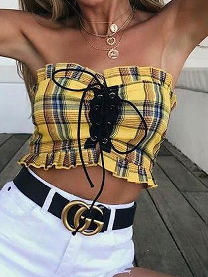 Yellow Plaid Bandeau Eyelet Lace Up Front Women Cotton Crop Top