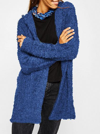 Blue Long Sleeve Women Fluffy Hooded Cardigan