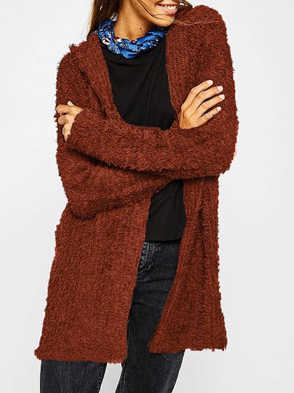 Orange Long Sleeve Women Fluffy Hooded Cardigan