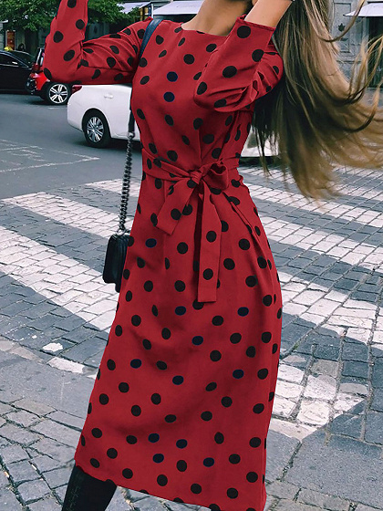 Burgundy Polka Dot Print Tie Waist Long Sleeve Women Midi Dress
