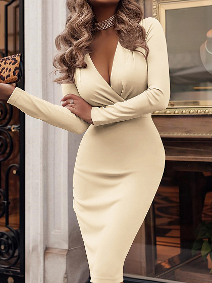 Beige V-neck Ruched Detail Long Sleeve Women Bodycon Dress