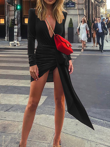 Black Velvet Plunge Tie Waist Long Sleeve Women Bodycon Mini Dress
