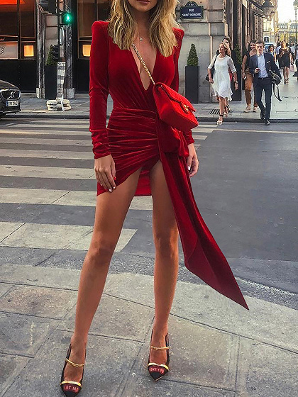 Red Velvet Plunge Tie Waist Long Sleeve Women Bodycon Mini Dress