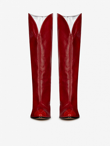 Red Leather Snakeskin Print Panel Pointed Toe Heeled Boots