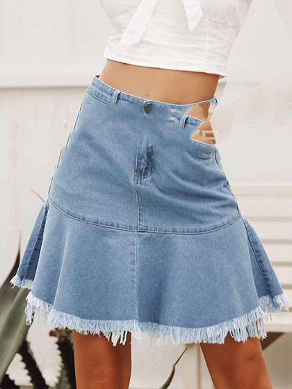 Blue High Waist Ruffle Hem Denim Mini Skirt