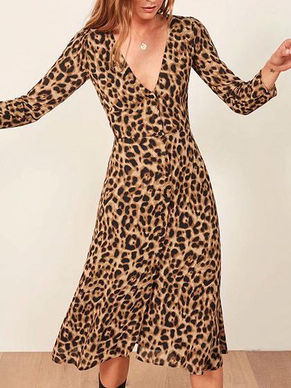 Brown Plunge Leopard Print Long Sleeve Women Midi Dress