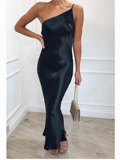 Black One Shoulder Ruffle Hem Bodycon Cami Maxi Dress