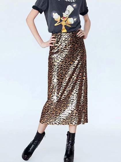 Brown High Waist Sequin Leopard Detail Women Midi Skirt