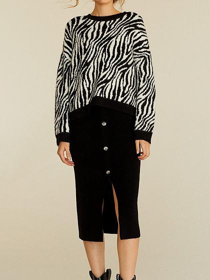 Black Zebra Print Long Sleeve Women Sweater