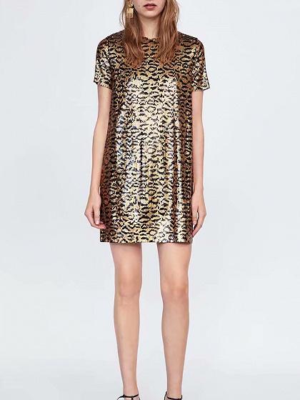 Brown Sequin Leopard Print Women Mini Dress