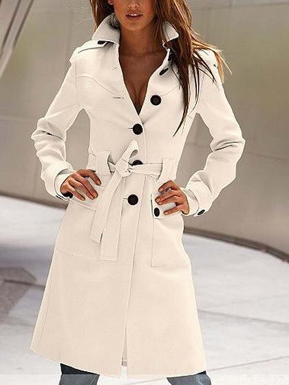 White Lapel Button Placket Tie Waist Long Sleeve Wool Blend Coat