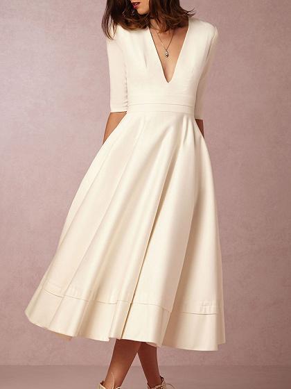 White Plunge Women Full-skirted Midi Dress
