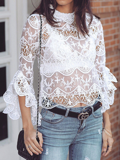 White Flare Sleeve Women Lace Crop Top