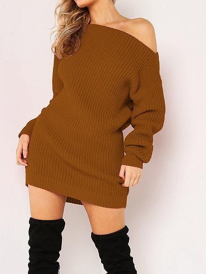 Brown Ribbed Asymmetric Neck Long Sleeve Bodycon Mini Dress