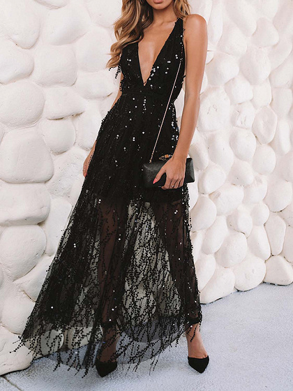 Black V-neck Sequin Detail Open Back Women Cami Maxi Dress