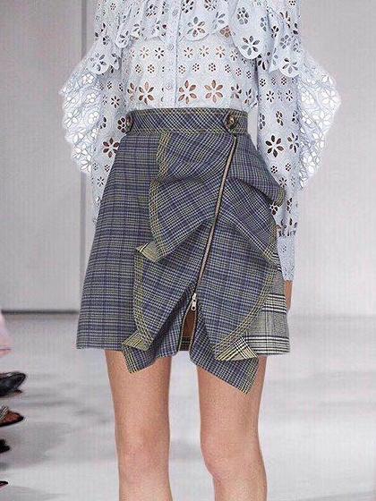 Multicolor Plaid High Waist Ruffle Trim Women Mini Skirt