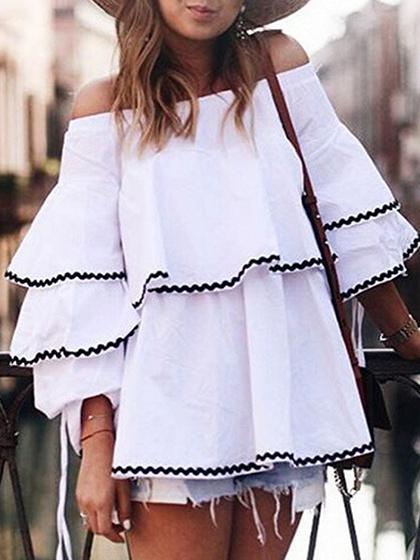 Weiße Baumwolle Schulterfrei Flare Sleeve Damen Bluse