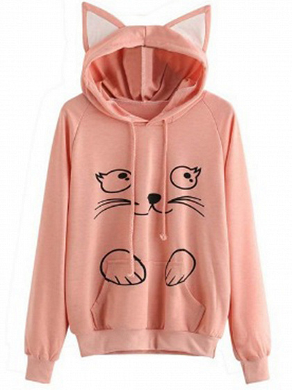 Pink Cat Print Long Sleeve Women Cat Ear Hoodie