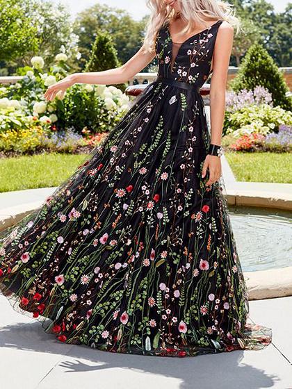 Black V-neck Floral Print Open Back Women Cami Maxi Dress