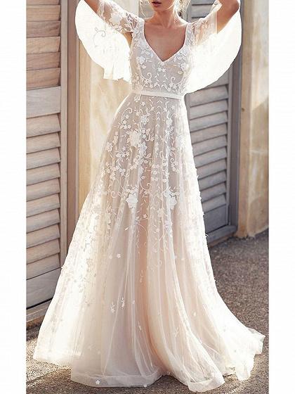 White V-neck Open Back Flare Sleeve Women Lace Maxi Dress