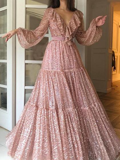 Golden V-neck Sequin Detail Ruffle Trim Puff Sleeve Maxi Dress