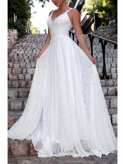 White V-neck Open Back Women Lace Cami Maxi Dress