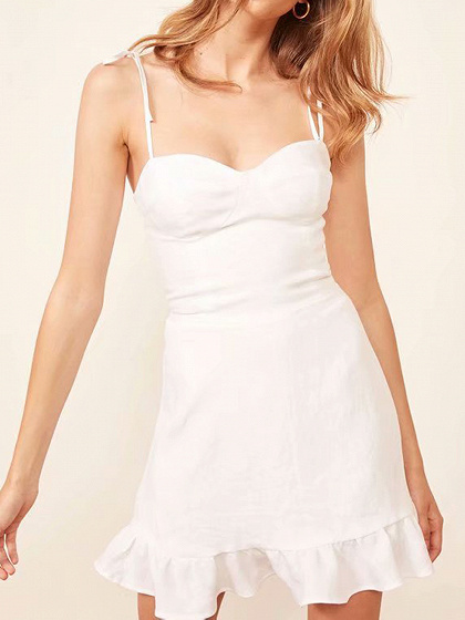 White Cotton Ruffle Hem Women Cami Mini Dress