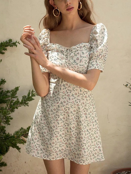 White Chiffon Square Neck Floral Print Puff Sleeve Mini Dress