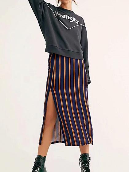 Dunkelblauer Streifen Hohe Taille Oberschenkel Aufgeteilte Seite Frauen Midi Rock