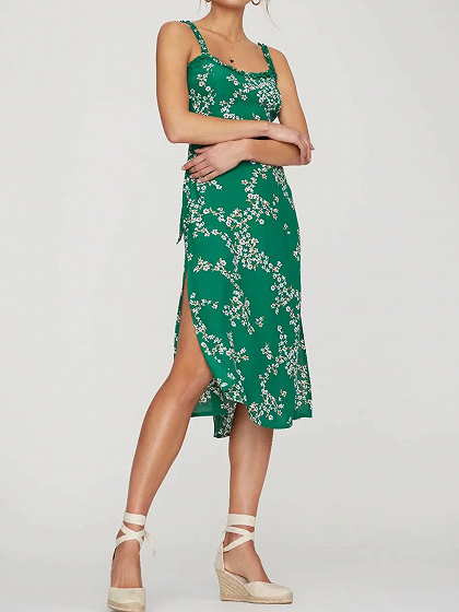 Green Cotton Floral Print Tie Back Women Cami Midi Dress