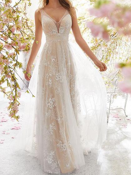 White V-neck Open Back Sleeveless Women Lace Maxi Dress