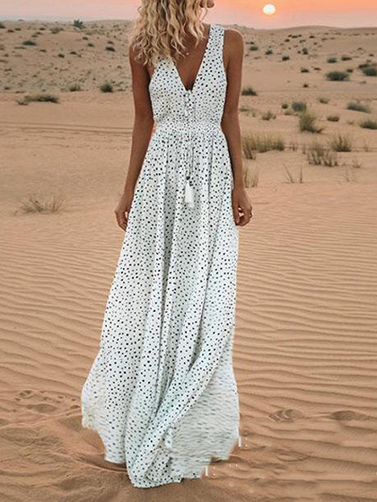 White V-neck Polka Dot Print Sleeveless Women Maxi Dress