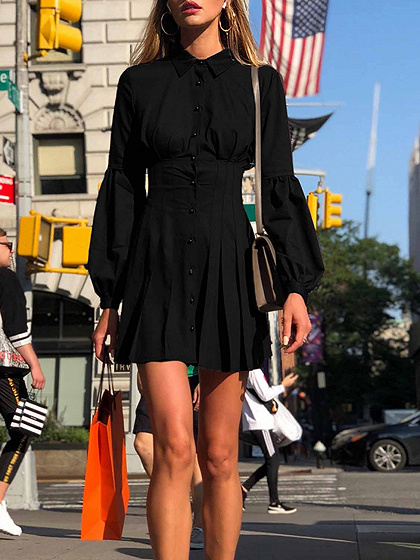 Black Cotton Button Placket Front Puff Sleeve Women Mini Dress