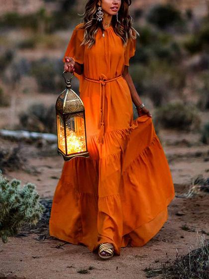 Orange Ruffle Trim Sleeveless Women Maxi Dress