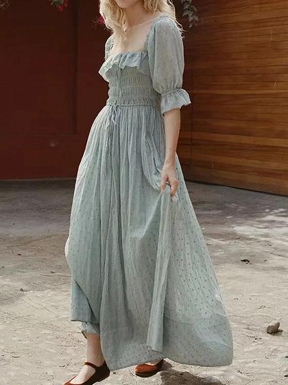 Light Green Cotton Square Neck Ruffle Trim Puff Sleeve Maxi Dress