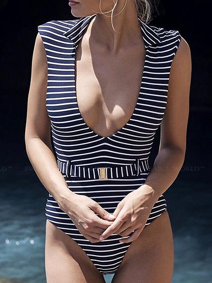 Dark Blue Stripe Lapel Plunge Belted Waist Women Swimsuit