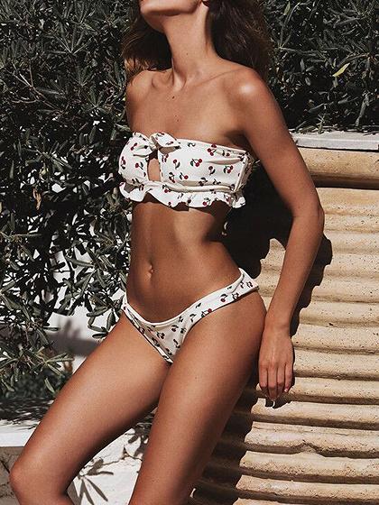 White Bandeau Cherry Print Women Bikini Top And High Waist Bottom