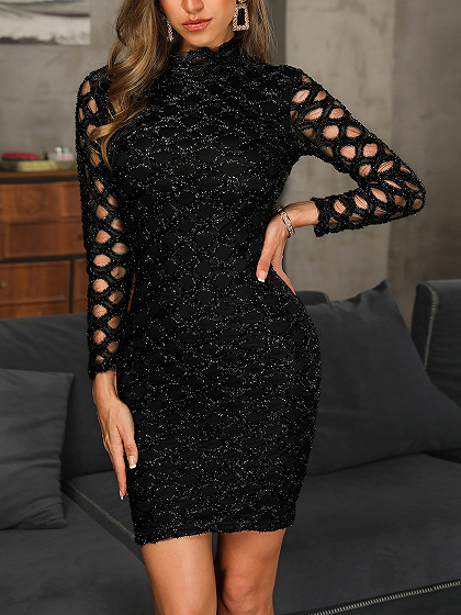 Black Lurex Yarn Cut Out Detail Long Sleeve Bodycon Mini Dress