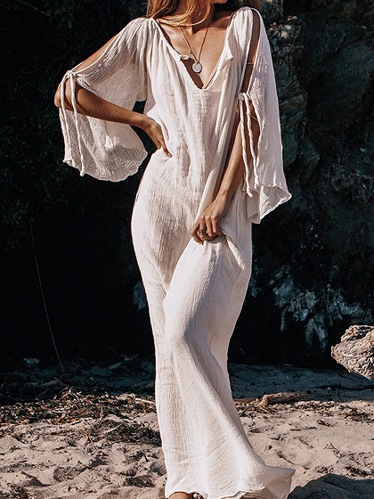 White Plunge Cold Shoulder Flare Sleeve Women Maxi Dress