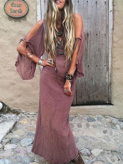 Brown Plunge Cold Shoulder Flare Sleeve Women Maxi Dress