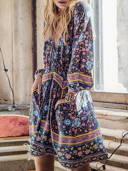 Multicolor Cotton V-neck Floral Print Long Sleeve Bohemian Mini Dress